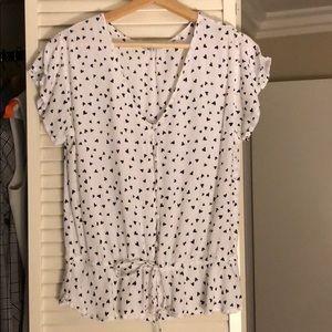 Hearts button down peplum waist tie blouse